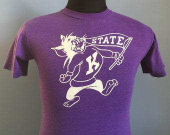 80s Vintage Kansas State University Wildcats KSU T-Shirt - SMALL