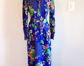 Vintage Maxi Shirt Dress Crazy Blue Print and Butterfly Collar 1970s