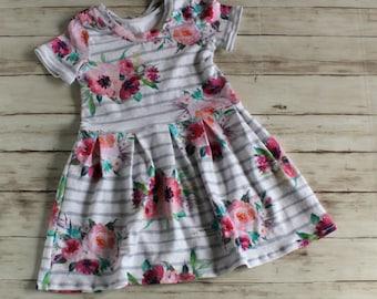 Watercolor Floral Baby Dress, Flower Girl Dress, Girls Summer Dress, Toddler Dress, Flower Girl Dress, Peplum Top, Girl Spring Dress
