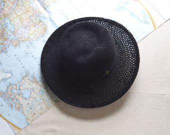 Black Wide brim Hat, Sun Hat, Cotton Hat, Black Ranger Hat, Derby Hat, Horseback riding hat, Boho Style Hat, Summer Hat, Back to School