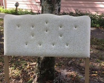 WHITE & GOLD TUFTED HEADBOARd TWIn/Hollywood Regency/Teen Girl's Room/Shabby Chic/Glamour Bedroom/