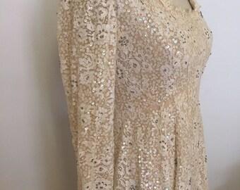 VINTAGE WEDDING DRESS/Victoria Royal Ltd/Cocktail Dress/Lace Dress/Sequined Dress/Empire Waist Dress/Made in Hong Kong/ at Ageless Alchemy