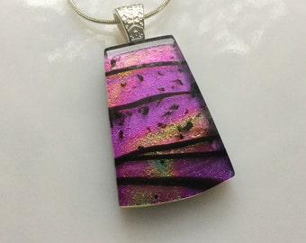 Dichroic Glass Pendant, Fused Glass Jewelry, Purple Magenta Dichroic Necklace