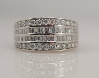 1 2/3 Carat cttw Baguette & Round Diamond Wide Band Ring 14k White Gold Vintage