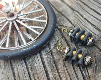 Recycled Bicycle Part Earrings // Gold Bead Sparkle Accent