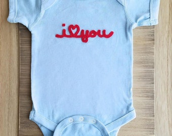 SAMPLE SALE I love you Newborn, I love Mommy Baby one piece, I <3 Daddy infant one piece