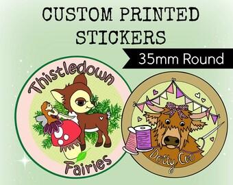 Custom Stickers Design - Plus x120 Printed 35mm ROUND Stickers