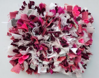 Frozen Berry - Unique rag rug style canvas art. Beautifully handmade in dark pink and white material. Size approx 35 X 30 X 9 cms