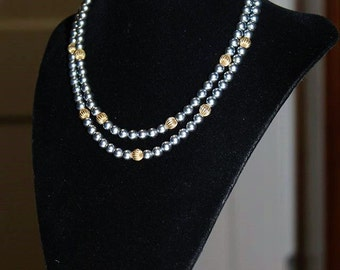 SARAH COVENTRY Designer Vogue Couture High End Faux Black Pearl Textured Necklace ND2