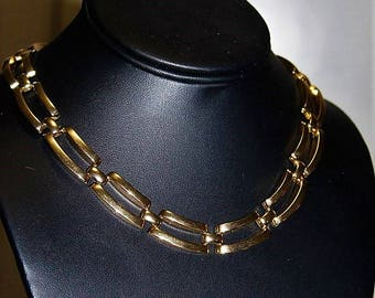 SALE! ANNE KLEIN Designer Couture High End Polished Gold Tone Fabulous Modernist Necklace ND7