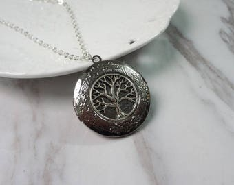 Tree Of Life Oxidized Silver Color Round Picture Locket Pendant Necklace 0356
