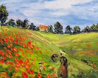 Poppy Field Original Impasto Oil Monet Inspired Painting Wall Art Red Flower Field Palette Knife Textured Small Canvas 8x8