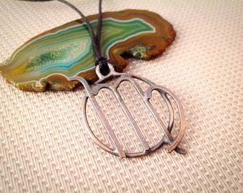 Virgo Zodiac Wire Forged Necklace Copper - Boho Astrology Pendant - Star Sign Jewelry August and September Birthday Gift
