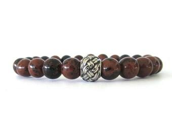 Mahogany Obsidian Men's Bracelet - Men's Jewelry - Bracelets for Men - Beaded Stretch Bracelet - Gemstone Bracelet - Men's Fashion - M0327