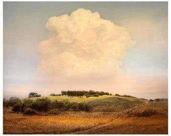 Cloud print, Landscape Photography, Large Cloud art, Nature oversized wall art, yellow brown living room decor, 16x20 print, 24x30