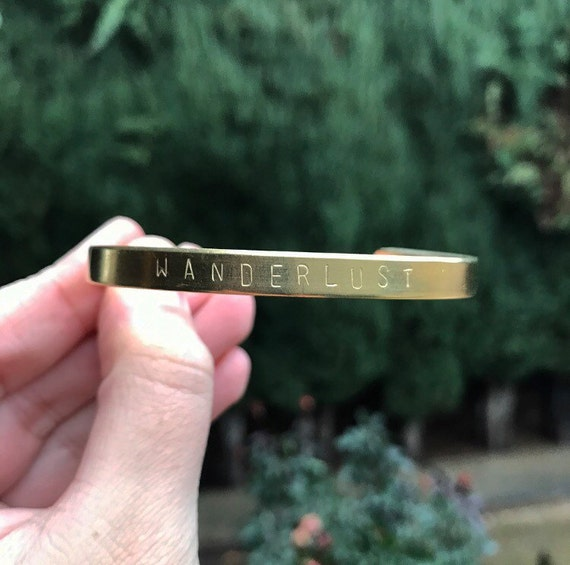 Wanderlust Handstamped Cuff Bracelet