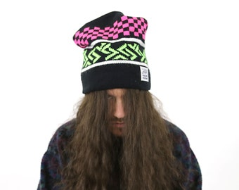 True Vintage Levi Strauss & Co Large Knit Ski Cap Neon Pink + Green