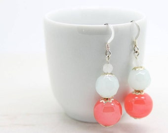 Vintage Soft Pastel Peach Pink and Powder Blue Glass Bead Handmade Sterling Silver 925 Drop Earrings - Queenie's Bazaar Gift Ideas