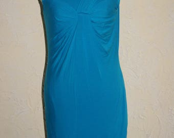 CALVIN KLEIN Knit Sleeveless Knee Length Dress Teal Draped Front Detail Size 8