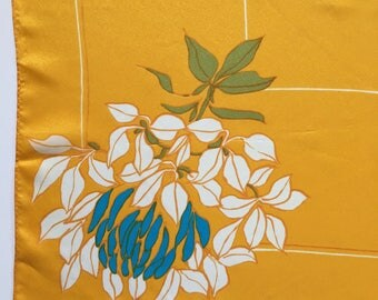 "Vintage Vera Neumann Bold Yellow Gold Large Blue White Floral Scarf 26.5"" x 26.5"" Square Acetate Made in Japan"