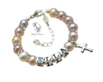 Babys First Pearls Baby Bracelet Baby Girl Name Bracelet Baby Girl Baptism Gift Baby Jewelry Real Pearl Bracelet Freshwater Pearl Baby Gift