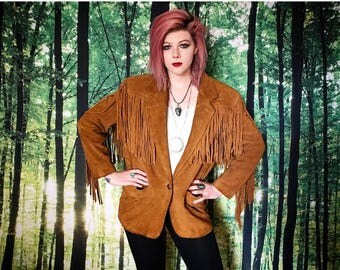 1970s Bohemian Western Fringe Leather Suede Jacket