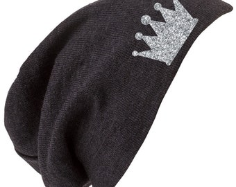 Glitter Crown Slouchy Beenie Hat Cap Princess Bling Shabby Chic Unique Gift Stocking Stuffer