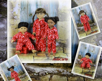 """Christmas Pajamas -- Triple Play (AG Bitty Baby, Wellie Wisher & Full 18"""" Doll)"""