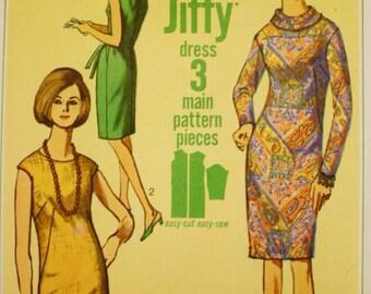 Simplicity 6437 /60s Dress Pattern /High Round Neckline/ Collarless /1960s/ Bust 36