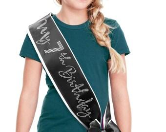 "My 7th Birthday Border Sash - Girl's Birthday Sash Rhinestone,  Border Sash, 7th Birthday Outfit , Daughters 7th Birthday, Child""s Seventh"