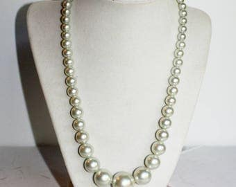 Vintage 50s Faux White Pearl Necklace Made In Japan Graduated Bridal Wedding Jewelry Costume Japan Gift For Her Anniversary