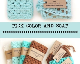 Soap Gift SET, Gift for Women, Gift for Wife, Gift For Girlfriend, Gift For mom, soap set, washcloth, Natural soap, vegan soap,
