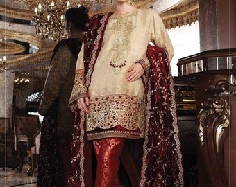 Maria B premium wedding edition, bridal collection, velvet shawl, burgundy and gold wedding, made to order, pakistani clothes