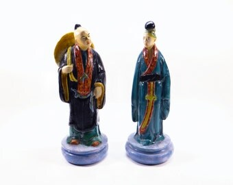 Vintage Oriental Figurine - Hand Painted - Colonial Studio, Ottawa, IL. - Asian Man and Woman Figurines