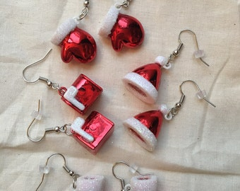 Christmas Charm Earrings - Santa Hat, Santa Boots, Santa's Mailbox, Christmas Mittens