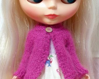 BLYTHE doll hand knit luxury angora cardigan sweater - raspberry pink