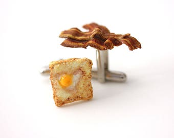 Bacon and eggs cufflinks: Breakfast cuff links- Polymer clay jewelry for men
