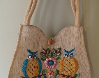 Vintage 1960s Straw Raffia Purse Shoulder bag by Patti Originals Two Owls Perched on a Branch with Flowers