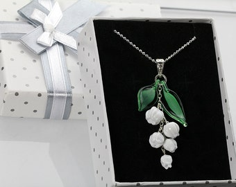 Lily-of-the-valley sterling silver pendant necklace,   lampwork sra, spring