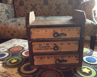 Ruler Box Storage Drawer System, Sewing notions, Craft storage, jewelry, Manicure Station, Hand Crafted