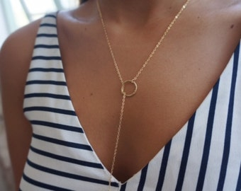 Y Circle Necklace Lariat Drop Circle Long Necklace Gold Filled or Sterling Silver Eternity Jewelry.