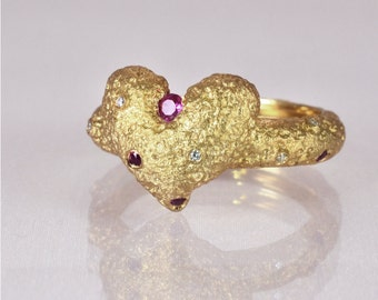 Diamond Heart Ring, Matte Gold Ring, Ruby Heart Ring, Unique Engagement Ring,  Vintage Gold  Ring , Solid Gold Ring , Art Deco Gold Ring