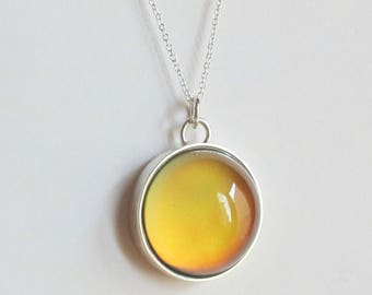 Mood Necklace Sterling Silver 925 big stone color changing