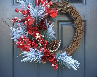 Winter Wreaths, Red and White Wreaths, Christmas Decor, Christmas Wreaths, Gifts for Her, Holiday Decor, Red Wreaths, Red Berry Wreaths