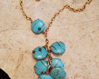 Copper Wire Wrapped Turquoise Rounds 3-Way Necklace