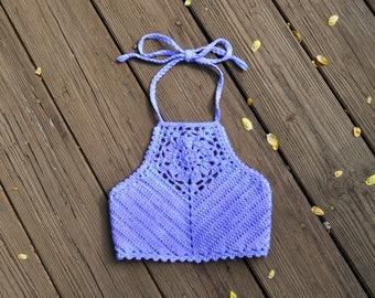 Purple Zinnia Crochet Crop Top // Ooak Hand-dyed Cotton Crop Top