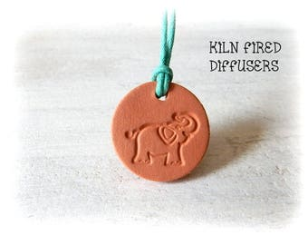 Kids Adjustable Elephant Aromatherapy Essential Oil Diffuser Pendant Necklace Small Size Ceramic Terracotta Eco Friendly Healing Jewelry