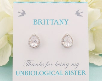 Personalized Bridesmaid Gift, Bridesmaid Jewelry, Bridesmaid Earrings, Wedding Jewelry, Bridal Studs, Lux Cubic Zirconia Teardrop Earrings