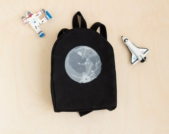 MADE TO ORDER, Customizable, Toddler Backpack, Hand Stamped, Moon, Monochrome, Kids Backpack