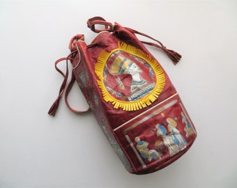 70s Boho Egyptian Leather Bucket Bag, Red Hand Painted Multicolor Metallic, Pharaoh and Hieroglyphics Design